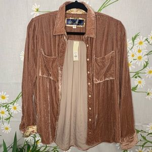 Francesca's Golden tan velvet button down blouse